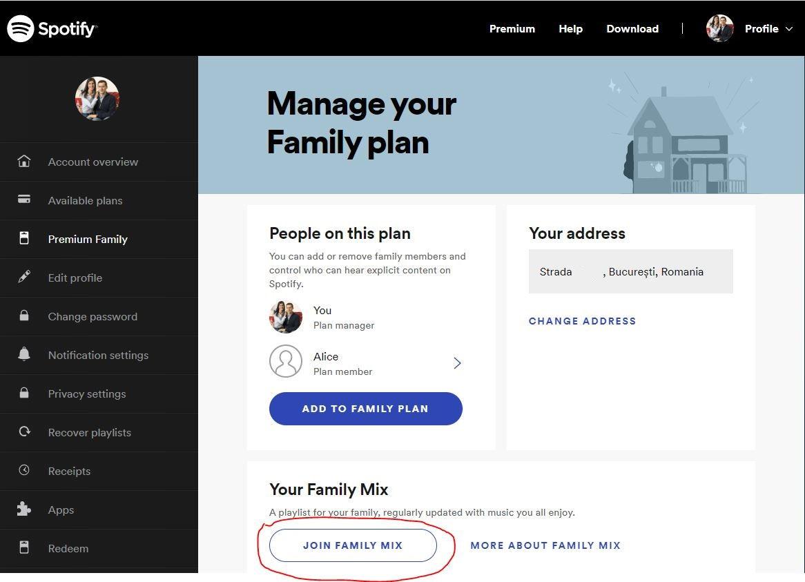 spotify family plan romania
