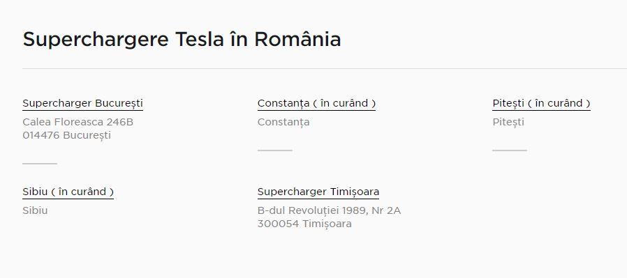 tesla superchargere românia